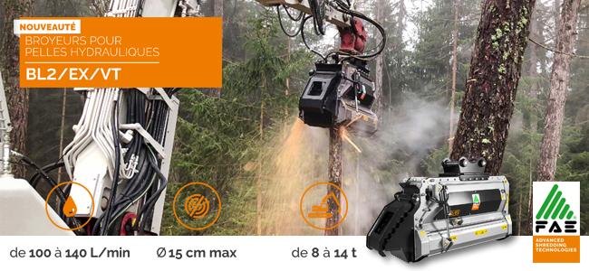 Nouveau chez FAE : broyeur forestier pour pelles avec technologie BITE LIMITER
